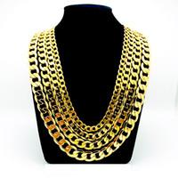 """Bracelet de collier pour hommes de 24 carats en or jaune 24K 24 """"Chaînes à bordures solides GF bijoux large 8mm 10mm 12mm"""