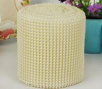 10YARD 24row demi-rondes perles de perles de perles de maille pliable garniture de chaîne de rouleau de maille pour la couture de sac de sac de sac