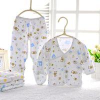 Venta al por mayor de algodón ropa de bebé recién nacido conjunto niños niñas niños ropa suave 2 piezas conjunto 0-3 meses 2 estilos