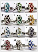 Mezclado colorido venta al por mayor lote Hot Silver Crystal Rhinestone Europea Charms Beads Fit pulsera de la serpiente, precio barato de la joyería