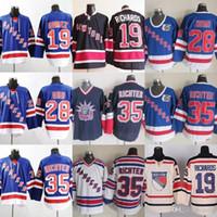 공장 콘센트 사용자 정의 뉴욕 레인저스 # 19 리차드 # 19 Gomez # 28 Domi # 28 Orr # 35 Richter Beige Blue White Ice Hockey Jerseys 무료 배송