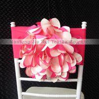 뜨거운 핑크 Taffeta 35cm Dia 손 큰 꽃 라이크라 Chiavari Chair Band 100PCS 무료 배송