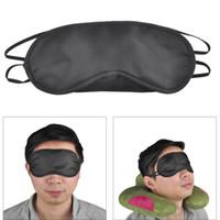 Máscara de Olho Preta de Poliéster Esponja Sombra de Cobertura de Sono Máscara para Dormir Máscaras de Poliéster de Viagem Macio 4 Camada 0612001