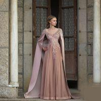 Mode Festa Vestido Plongeant col en V Appliqued perles manches Une ligne de robe de soirée longue Robes de soirée Robe De Soirée Longue