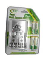 BTY más barato 1.2 V AAA 4 * 1350 mah batería recargable Ni-MH + BTY-802 AA / AAA cargador de batería con la caja de embalaje envío gratis
