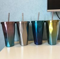 473ml 16oz Stainless Steel Straw Tube Cup Mug - Dazzle Colou...