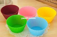 Forma redonda Jelly Baking Mold Silicone 7 cm Muffin Cup Cake Cups Cupcake Boxes Bakeware para cozinha de jantar