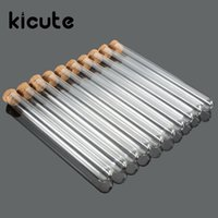 Wholesale- Kicute 10pcs pack Lab Glass Test Tube With Cork S...