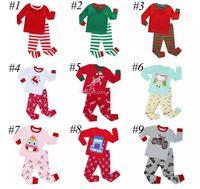 Çocuk Noel Pijama Setleri Çocuklar Erkek Kız Santa 2 Adet Yeşil Beyaz Çizgili Gecelikler Pijama Pijama Giyim Setleri için 2-8 T 10 renkler