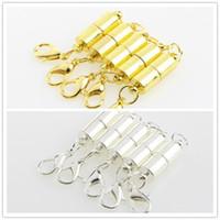Gümüş / Altın Kaplama 6mm Güçlü Manyetik Mıknatıs Kolye ıstakoz Klipsler Silindir Klipsler Kolye Takı DIY için
