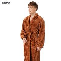 brand new style robe men bathrobe mens thicken flannel bathrobes winter autumn casual long bathrobes men sleepwear robe 47 - Mens Bathrobes
