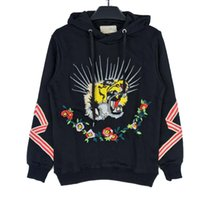 Embroidery tiger couple hoodies luxury brand long sleeve pul...