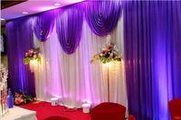 3 * 6M Partido de bodas Tela de seda de hielo Drapey Blanco Color azul con swag stage Prop Fashion Drape cortina telón de fondo