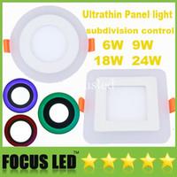 Yeni Ultrathin LED Panel Işıkları Subdivision Kontrolü 6 W 9 W 18 W 24 W Mavi Kırmızı Yeşil ile Sıcak / Soğuk Beyaz Gömme Tavan Downlight