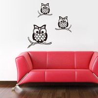DIY Modren Cartoon Cute Three Owls Family Wall Decor PVC Rem...