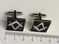 Boutons de manchette en maçonnerie Boutons de manchette maçons pour accessoires de vêtement Boutons de manchette en maçonnerie noire maçonnique en métal pour le franc-maçon