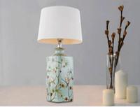 Lâmpadas de mesa Estilo Europeu Decor Art Lâmpadas Decoração Home LED Tabela criativo moderno Titular Ceramic Lâmpadas Cotton Sombra