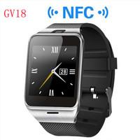 2016 بلوتوث الهاتف GV18 Smartwatches 1.5 بوصة NFC الذكية ووتش مع شاشة تعمل باللمس كاميرا SIM GSM دعوة الهاتف لالروبوت الهاتف بالجملة