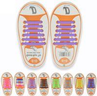 13 الألوان للجنسين سهلة لا التعادل أربطة الحذاء الاطفال سيليكون الأربطة الحذاء مرنة الاطفال الاحذية صالح جميع رياضة 12 قطعة / المجموعة