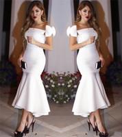 2017 Mermaid Kapalı Omuz Seksi Beyaz Çay Boyu Arapça Kokteyl Elbiseleri Artı Boyutu Ucuz Basit Örgün Akşam Balo Parti Törenlerinde Vestido Festa