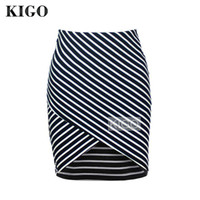 Wholesale- KIGO Women Black Cross Front Striped Bodycon Skir...