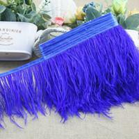 Дешевые страусовое перо обрезки на атласной шапке 10 м / лот много цветов страусовое перо бахрома перо Боа полоса для партии одежда аксессуары