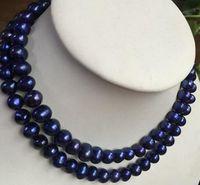 Collier de perles bleues et noires baroques classiques de la mer du Sud 9-10mm