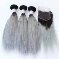 البرازيلي نسج الشعر الرمادي 3 حزم مع إغلاق الرباط الفضة رمادي أومبير الشعر مع إغلاق 1B رمادي حريري مستقيم