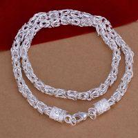 925 Sterling-Silver-Jóias de 20 polegadas de Prata Banhado Elo Da Cadeia Colar para Mulheres Elegantes New Dragon Colar Presentes Amigo Unisex Acessórios