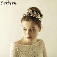 Sorbern Ouro Grandes Folhas De Noiva Headpiece Boho Estilos Do Vintage Acessórios Do Cabelo Do Casamento Headband Jóias de Cristal Tiara Coroa Enfeites de Cabelo