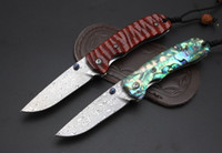New Damascus steel folding knife wood shell handle outdoor c...