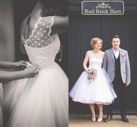 Lunghezza 50s Fashion Tea Short Beach Abiti da sposa con maniche ad aletta Pois increspato Tulle Vintage 2019 plus size abito Gowns