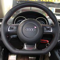 Caso para Audi TT Volante Cobre Genuíno Couro DIY Mão-ponto de Direção Capas de Couro Preto car styling