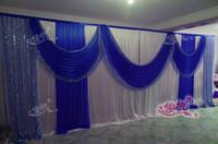 3 متر * 6 متر (10ft * 20ft) جميلة الملكي الأزرق الزفاف خلفية الترتر غنيمة الجليد الحرير مرحلة خلفية ستارة الزفاف ديكورات