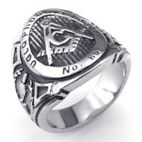071107-Wholesale Serin zarif moda takı yüzükler Erkek Paslanmaz Çelik Yüzük, Mason Masonik Yüzük, Siyah Gümüş Boyutu: 8-13