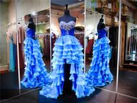 Königsblau und weiß trägerlosen Schatz hoch niedrig Prom Kleid gekräuselten Organza schwere Perlen zwei Stones Abendkleid