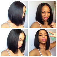 Bob lace wig human hair straight bob style lace front wig U ...