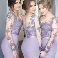 Lilac Illusion Long Sleeve Bridesmaid Dresses Mermaid Satin ...