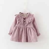 Sweet Little Girls V Ruffle Dresses with Lining 2017 Autumn ...