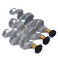 Heißer Verkauf Ombre Menschenhaar Bundles # 1B / Grau 2 Ton Haar Spinnt 3 Teile / los Brasilianische Ombre Haarverlängerungen Günstigen Preis