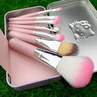 Hello Kitty Sweet pink nero 7 pezzi Mini Makeup brush Set cosmetici kit de pinceis de maquiagem make up brush Kit 50pz