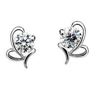 Aretes finos del corazón del arco que perforan 925 pendientes de plata esterlina CZ Stud pendientes de doble cara para wemen joyería Bijoux Femme