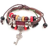 Retro Cute Key 3 capas pulsera cortical con madera Charms Beads pulsera de brazalete de cuero genuino pulsera de la joyería