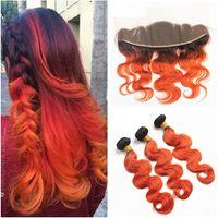 Два Тона Цвета Человеческих Волос Оранжевый Ombre Кружева Фронтальная Закрытие T1b 350 Оранжевый Тела Волна Перуанский Девственные Волосы 3 Пучка С Фронтальной