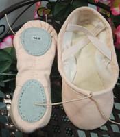 полный хлопковый холст балетные тапочки танец обувь, Комфорт мягкие два спилка Подошва для всех возрастов