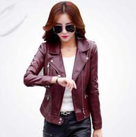 Плюс Размер S-3XL Мода Осень Зима Женщины Кожаное Пальто Женская Тонкая Короткая Кожаная Куртка женская Верхняя Одежда