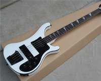 Hot Sale 4- String Electric Bass with White Body and Black Bi...