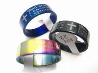 Brand new 50 pcs Português A oração de serenidade preta / azul / arco-íris cores banda de aço inoxidável anéis de jóias por atacado lotes
