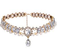 Collana girocollo in stile europeo con girocollo in strass di cristallo Collana girocollo con ciondolo corto per gioielli da festa