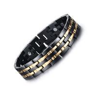 Exquis Hommes Sain Magnétique Bracelet Or Noir Plaqué Énergie Bracelet En Acier Inoxydable Bijoux Thérapie Bracelet Cadeau D'anniversaire B829S